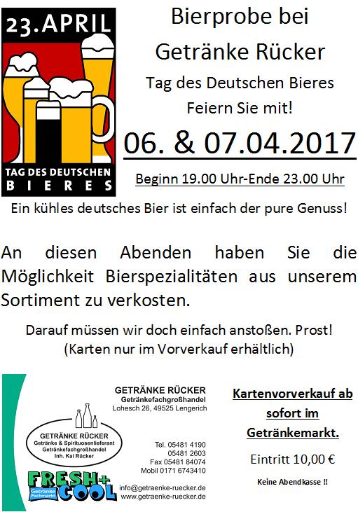 Bierprobe am 6. & 7. April 2017 | Getränke Rücker
